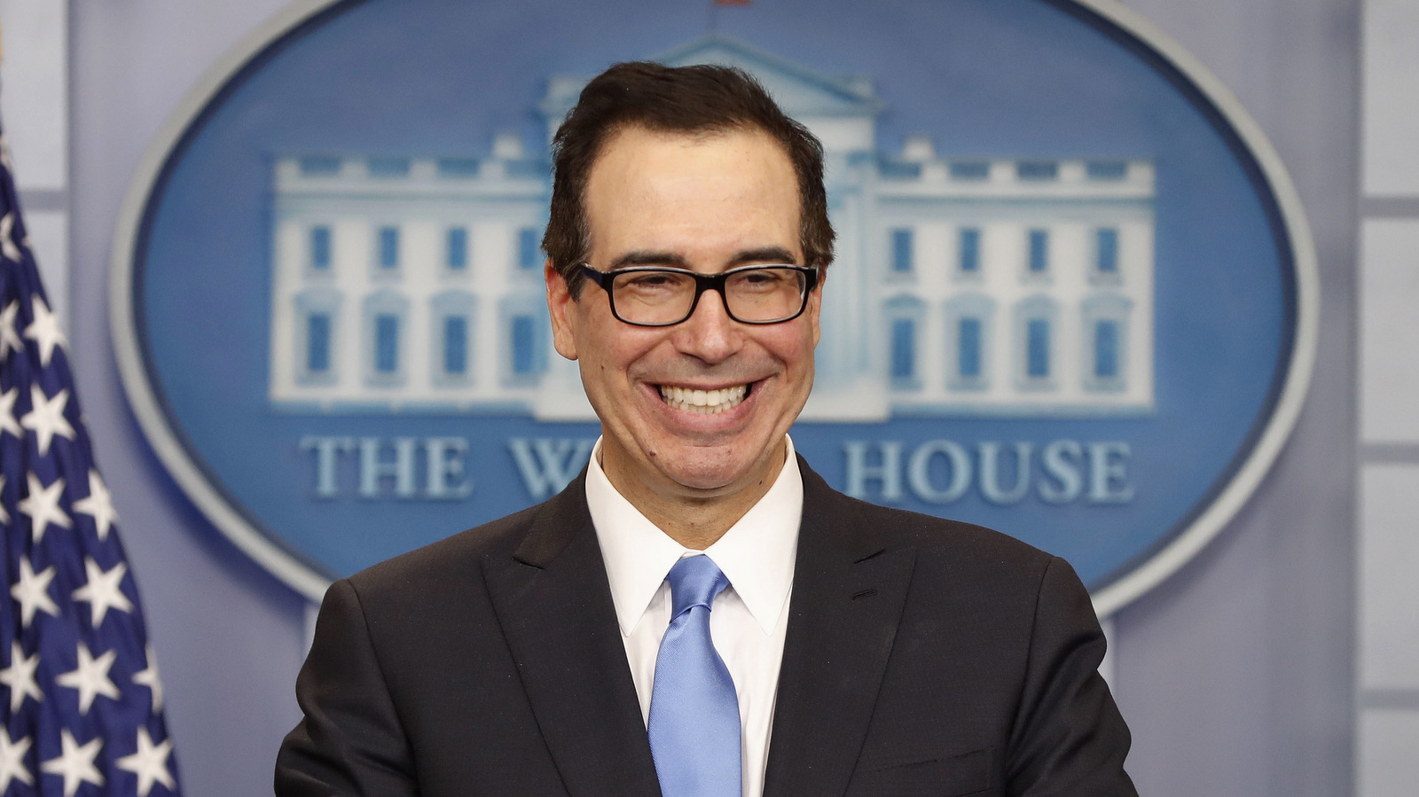 Treasury Secretary Steve Mnuchin smiles while speaking to the media during the daily briefing in the Brady Press Briefing Room of the White House in Washington, Monday, April 24, 2017. (AP/Pablo Martinez Monsivais)