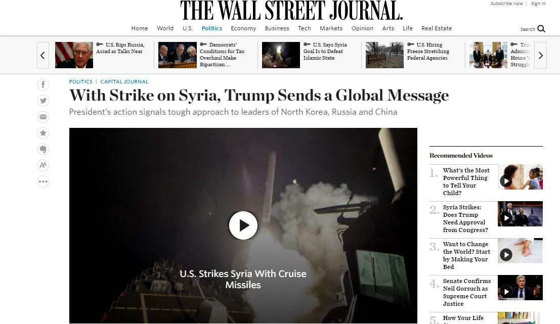 Top Five Major Newspapers Run 18 Opinion Pieces Praising Syria Strikes – Zero Are Critical
