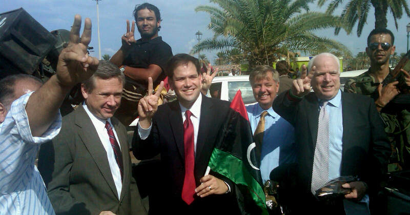 Republican U.S. Sens. Mark Kirk of Illinois, Marco Rubio of Florida, Lindsey Graham of South Carolina, and John McCain of Arizona, visit Libya.