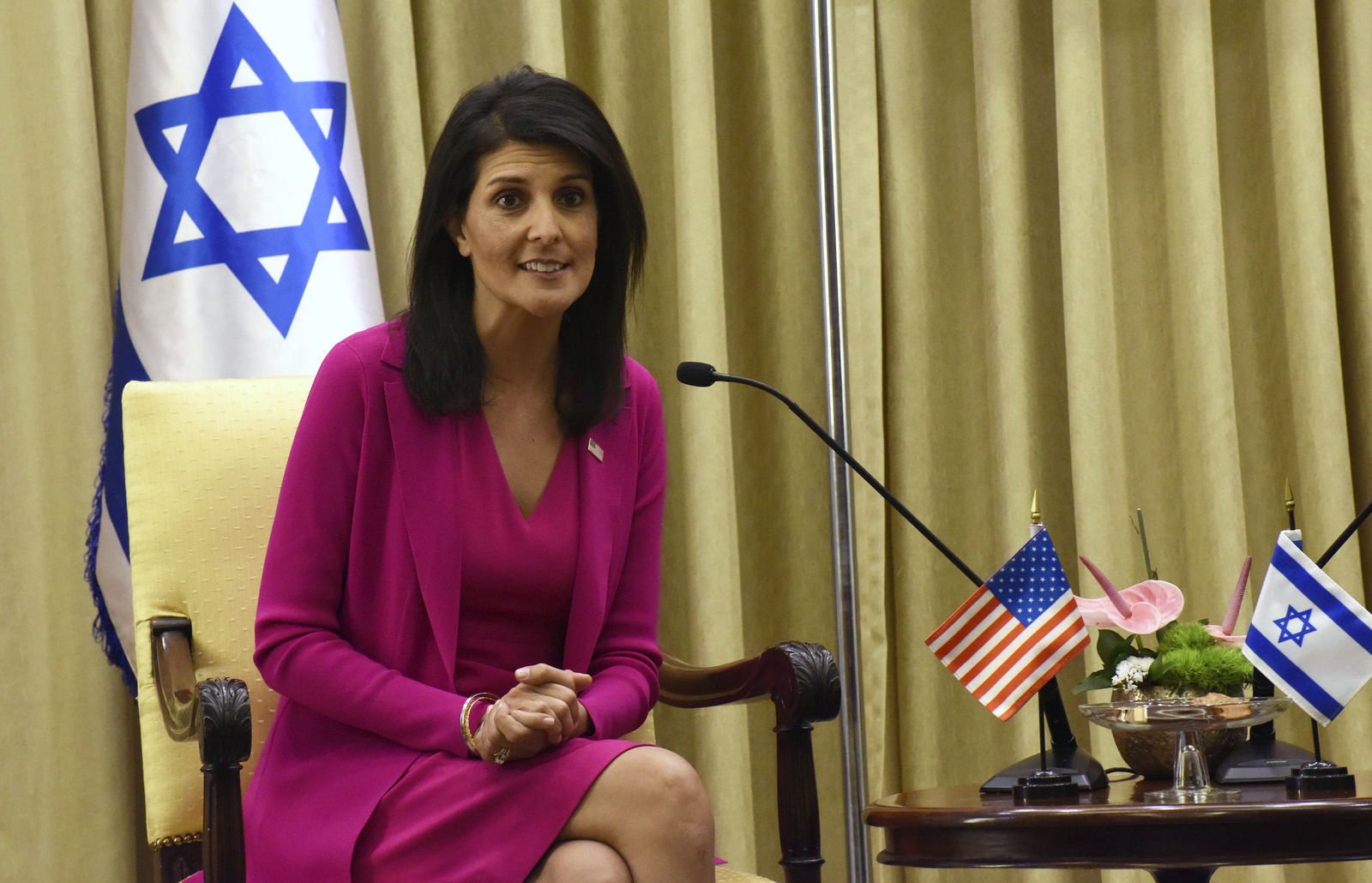 U.S. Ambassador to the United Nations Nikki Haley speaks during a meeting with Israeli President Reuven Rivlin, not seen, in his residence in Jerusalem, Israel, June 7, 2017. (Debbie Hill/AP)