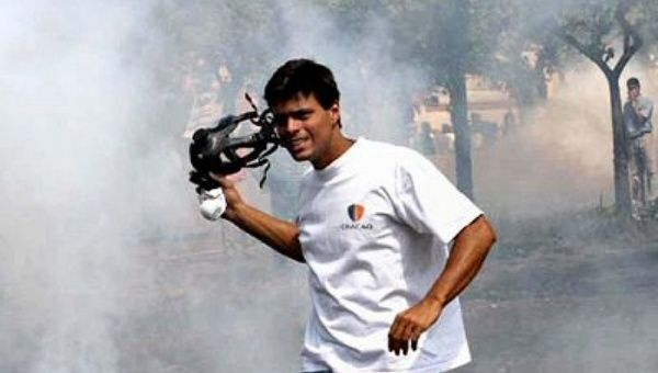 Leopoldo Lopez holds a gas mask while participating in the 2002 coup against Hugo Chavez. (Archive photo)