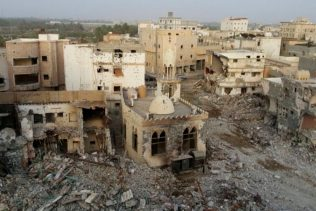 The town Awamiya, in the eastern Qatif province of Saudi Arabia resembles a war zone following destruction by Saudi government forces. (Photo: Twitter)