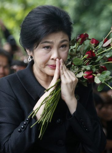 Former Thailand's Prime Minister Yingluck Shinawatra arrives at the Supreme Court for the last day of her hearing in a corruption trial in Bangkok Thailand. (APSakchai Lalit)