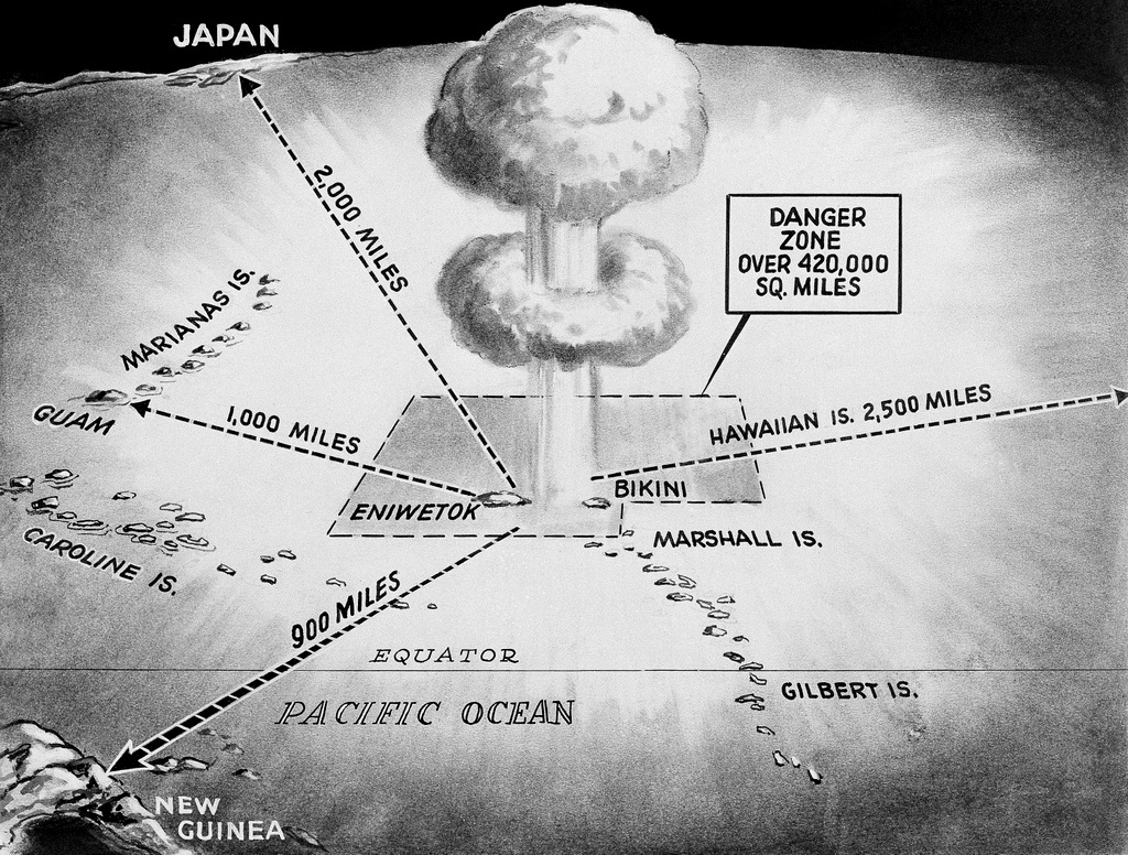 This drawing from 1956 shows the area in which the United States' spring H-bomb tests will took place in the Pacific Ocean. The distance of the islands with the danger zone are noted, including Eniwetok and Bikini from Japan, Guam, New Guinea and Hawaii (AP/Ed Gunder)