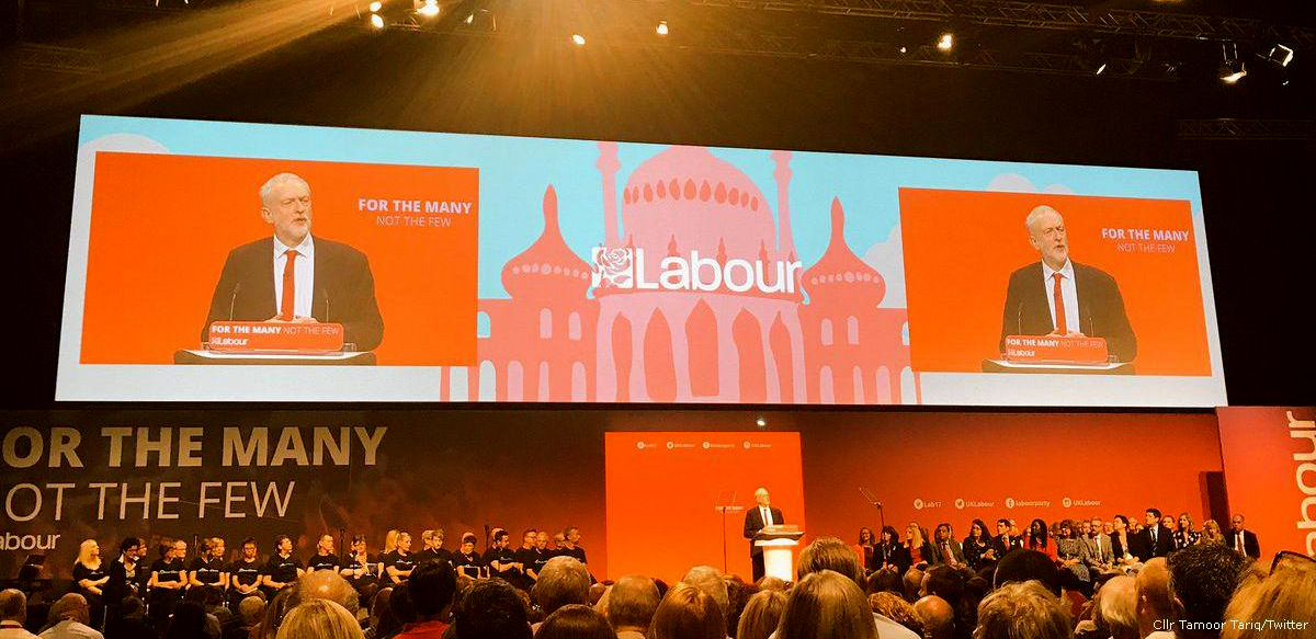 Jeremy Corbyn speaks at a Labour Party conference 2017 in Brighton, UK. (Cllr Tamoor Tariq/Twitter)