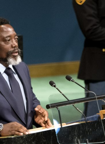 President of the Democratic Republic of the Congo Joseph Kabila addresses the United Nations General Assembly, Saturday, Sept. 23, 2017, at U.N. headquarters. (AP/Craig Ruttle)