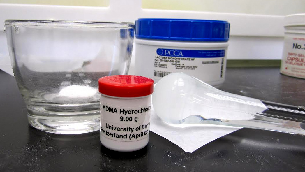 A bottle of medicinal MDMA being used in research by the Multidisciplinary Association for Psychedelic Studies. (Photo: MAPS)