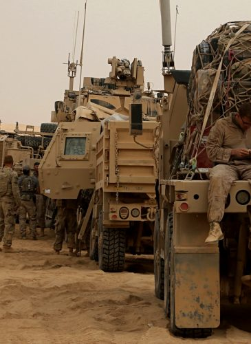 U.S. Marines prepare to build a military site in western Anbar, Iraq. The US' newest outpost is in this dusty corner of western Iraq near the border with Syria where several hundred American Marines operate close to the battlefront. (AP/Khalid Mohammed)