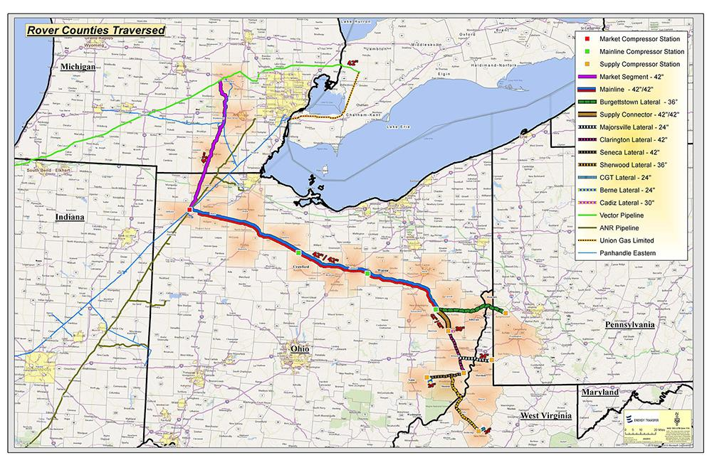 The Rover pipeline's path through Ohio via Energy Transfer Website