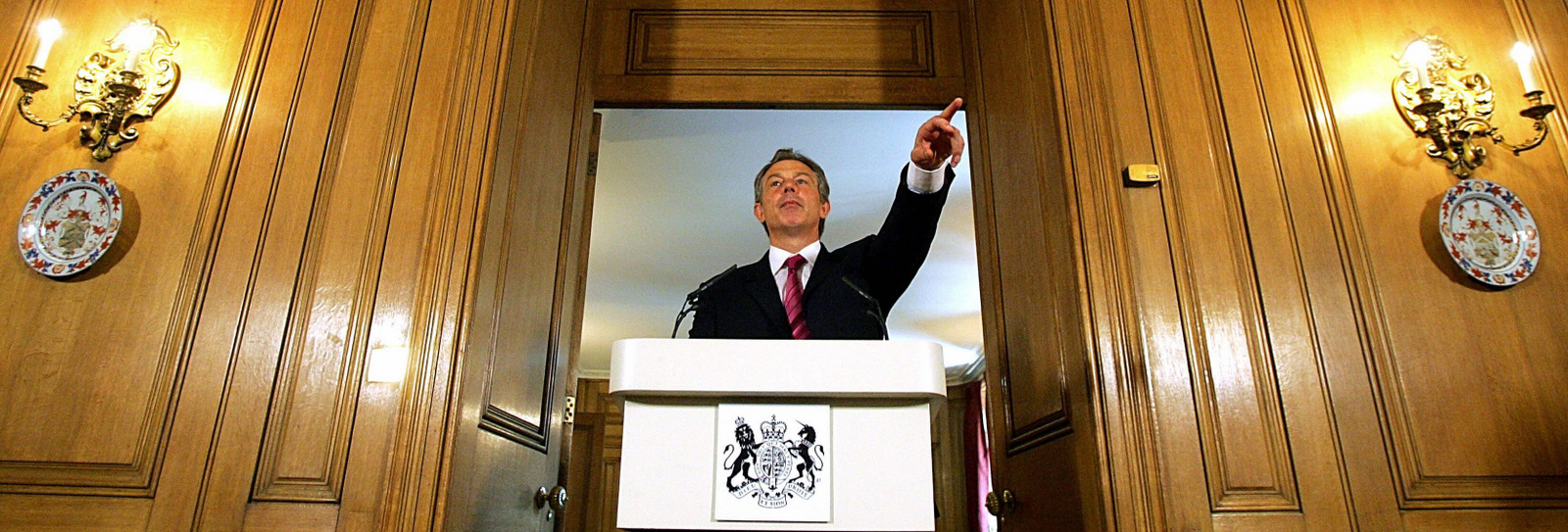 Britain's Prime Minister Tony Blair speaks to the media during his monthly press conference at 10 Downing street, in London, June 15 2004, where he insisted that he had been right to take military action against Iraq. (AP /Odd Andersen)