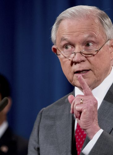 Attorney General Jeff Sessions speaks during a briefing on leaks of classified material one week after President Donald Trump complained that Sessions was weak on preventing such disclosures, Aug. 4, 2017.