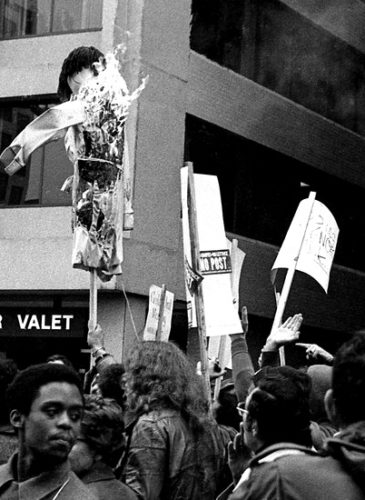 Over 1,000 striking pressmen and supporters stage a march and rally on the one year anniversary of the Pressman's strike on October 2, 1976 that culminated with burning Katherine Graham in effigy in front of the Post headquarters. (Photo: Reading/Simpson, non-commercial use permitted)