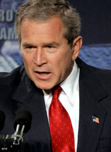 President Bush speaks at the Oak Ridge National Laboratory in Oak Ridge, Tenn., on, July 12, 2004 where he his decision to invade Iraq even as he conceded on that investigators had not found the weapons of mass destruction. (AP/Mark Humphrey)