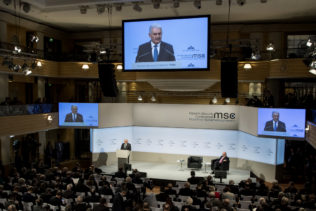 Turkey's Prime Minister Binali Yildirim, speaks at the Security Conference in Munich, Germany, Feb. 17, 2018. (Sven Hoppe/dpa via AP)