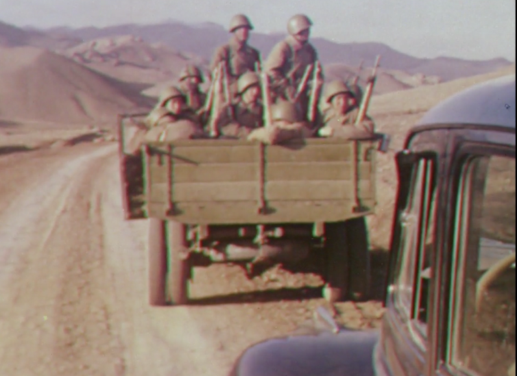 The Red Army in Iran. Still from Quetta-Damghan. British Film Institute/Royal Geographical Society