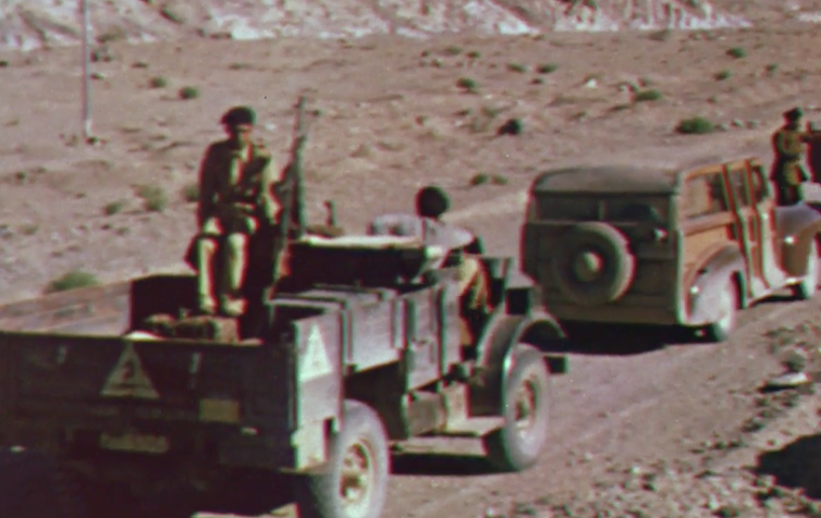 Still image of the Indian Long Range Squadron from Quetta Damghan.British Film Institute/Royal Geographical Society