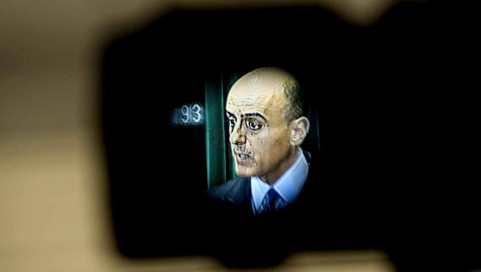 Seen in a video camera viewfinder, Saudi Arabian Ambassador Adel Al-Jubeir speaks about the Saudi military campaign in Yemen during a news conference at the Saudi Embassy in Washington, April 22, 2015. (AP/Jacquelyn Martin)