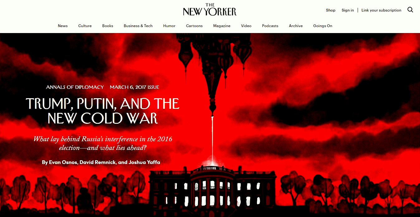 The New Yorker's March 2017 attempt to dissect the 'Russiagate' scandal. (Screenshot)