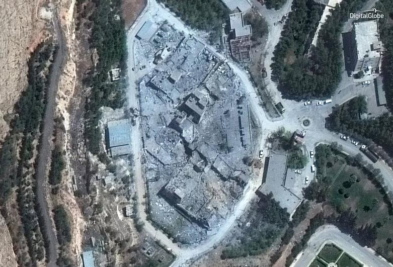 This satellite image, taken Monday morning, shows the Barzah Research and Development Center in Damascus after it was struck by coalition forces.