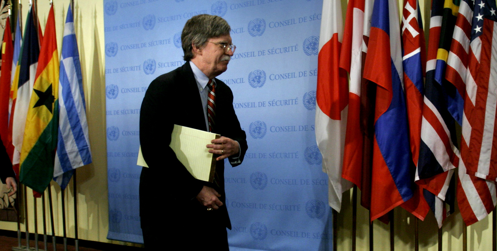 John Bolton, then acting U.S. United Nations Ambassador, arrives for a meeting on North Korea at the UN Security Council in New York, Oct. 13, 2006. (AP/Bebeto Matthews)