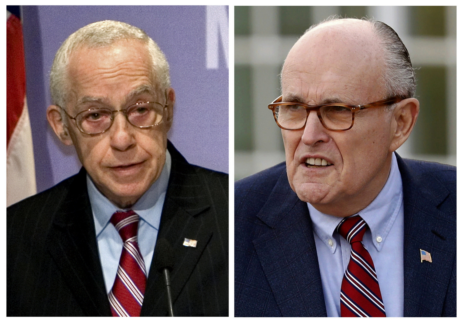 Then Attorney General Michael Mukasey, left, speaks at the U.S. Holocaust Memorial Museum in Washington on Dec. 16, 2008 and former New York Mayor Rudy Giuliani arrives for meetings with President-elect Donald Trump on Nov. 20, 2016, in Bedminster, N.J. (AP/J. Scott Applewhite, left, and Carolyn Kaster)