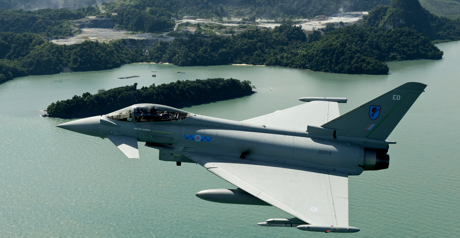 An RAF Typhoon, made by BAE systems over Penang Island in Malaysia, November 2011. (Photo: Geoff Lee/BAE)