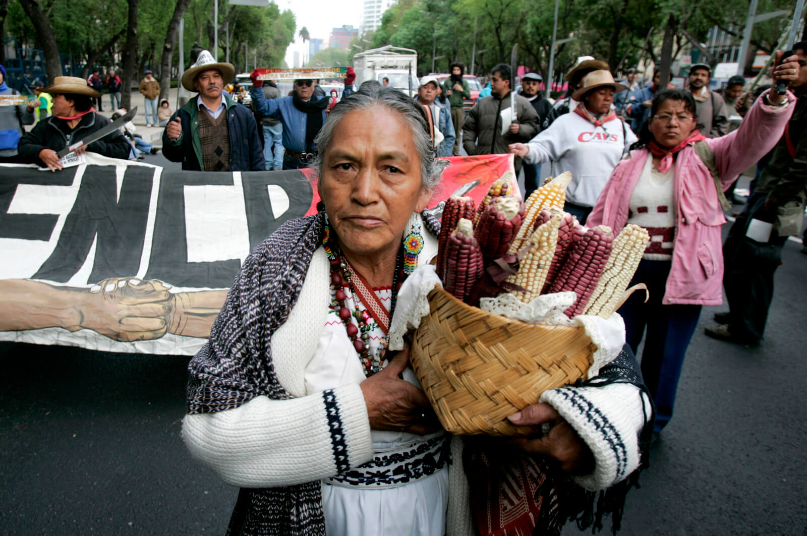 Mexican farmers protest the end of import protections under NAFTA for corn and bean crops in Mexico City, Jan. 2, 2008. Eduardo Verdugo | AP