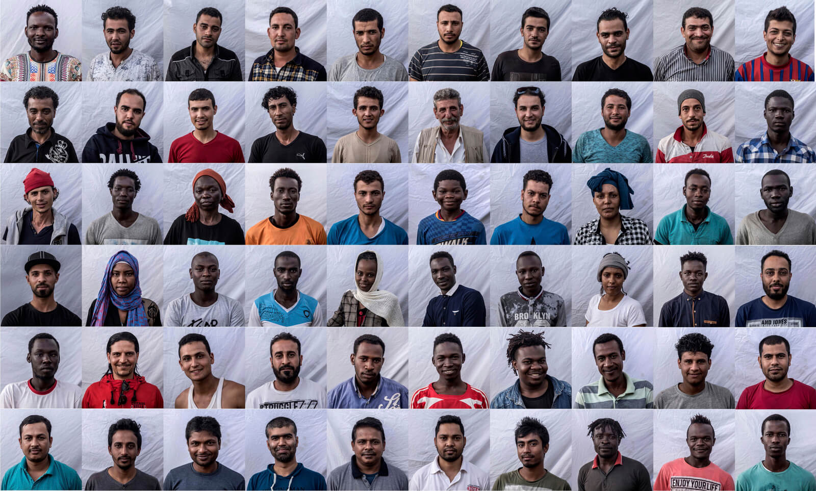 A combo of images showing the 60 migrants traveling aboard the Open Arms aid boat, of Proactiva Open Arms Spanish NGO, posing for photos during their trip to Barcelona, Spain, July 4, 2018. Olmo Calvo | AP