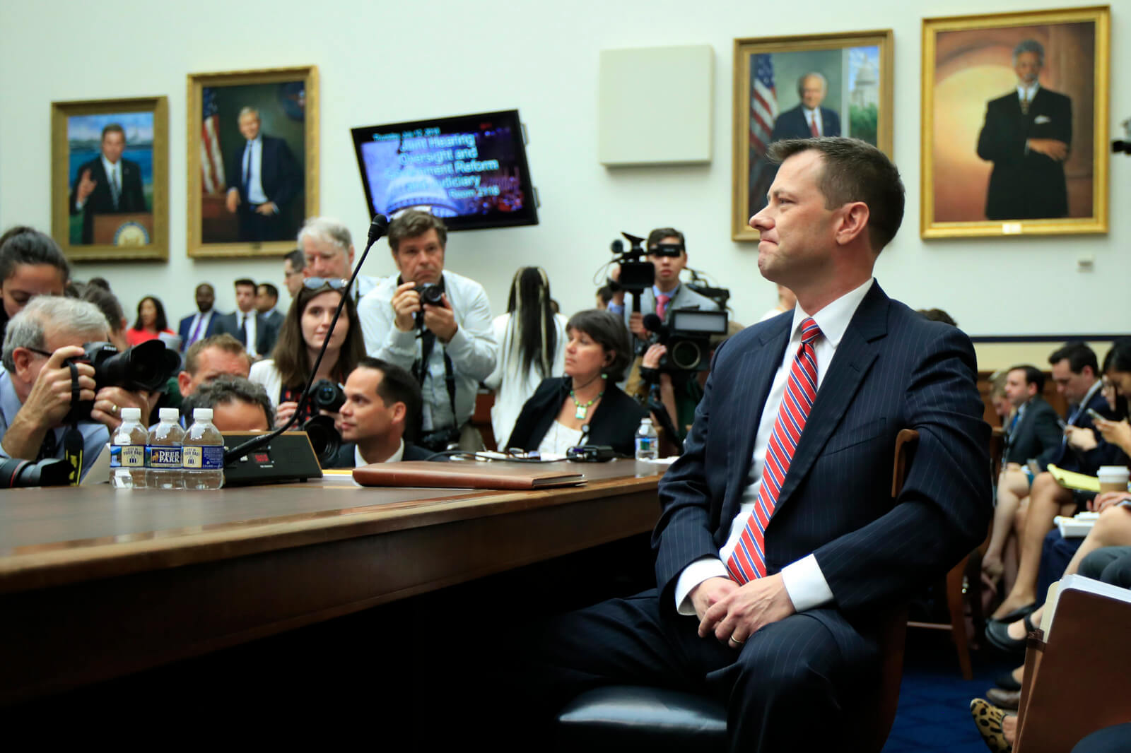 "FBI Deputy Assistant Director Peter Strzok, waits for the start of a House Judiciary Committee joint hearing on ""oversight of FBI and Department of Justice actions surrounding the 2016 election"" on Capitol Hill in Washington, July 12, 2018. Manuel Balce Ceneta 