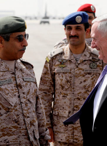U.S. Defense Secretary James Mattis is greeted by Saudi Armed Forces Chief of Joint Staff General Abdul Rahman Al Banyan (L) upon his arrival at King Salman Air Base, Riyadh, Saudi Arabia, April 18, 2017. Jonathan Ernst | AP
