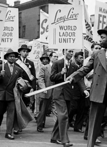 Workers march together during a 1946 May Day parade in New York City. Photo | Bettmann Archive