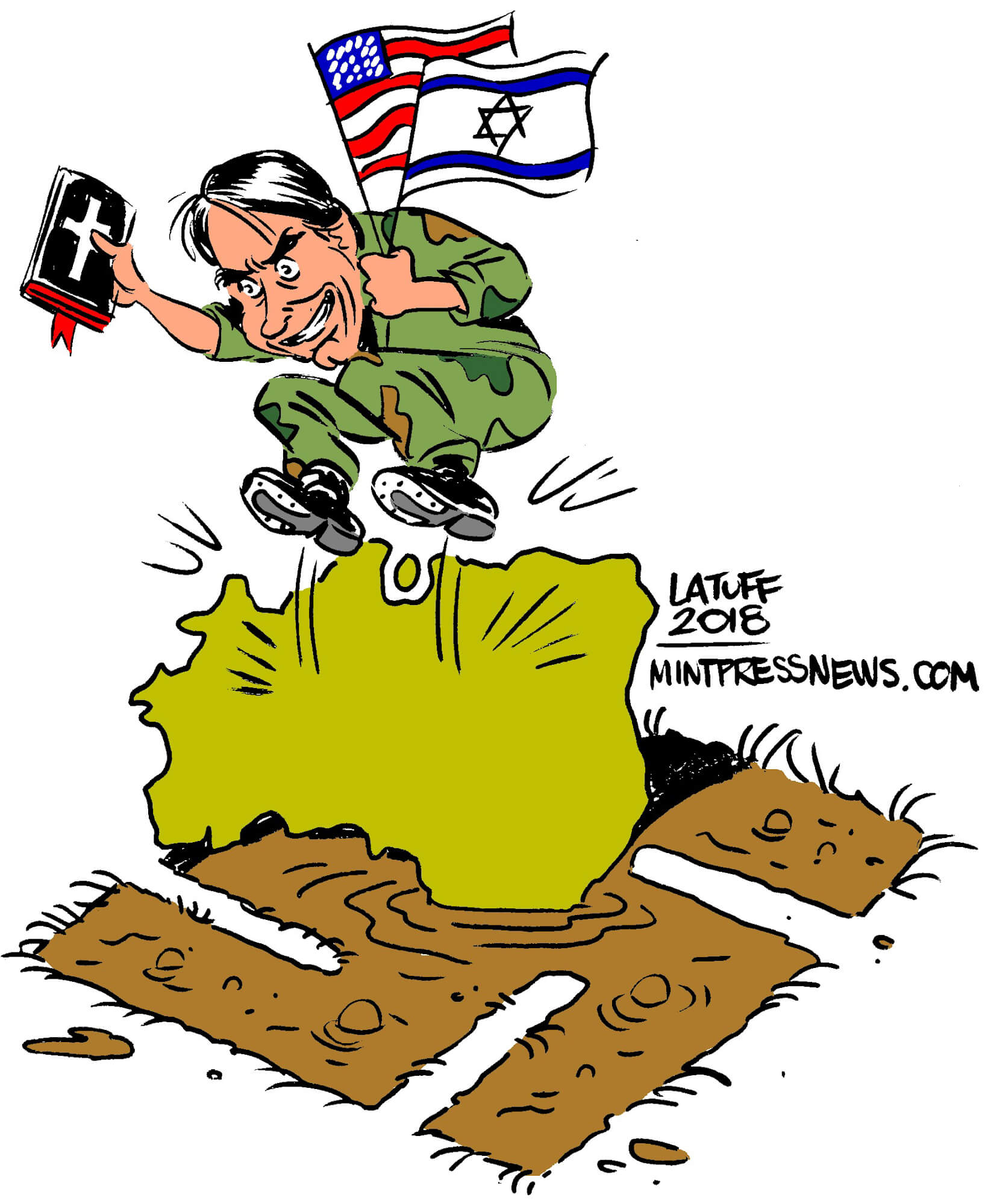 Brazil, backed by the United States and Israel, elects far-right president Bolsonaro. An Editorial Cartoon by Carlos Latuff for MintPress News.