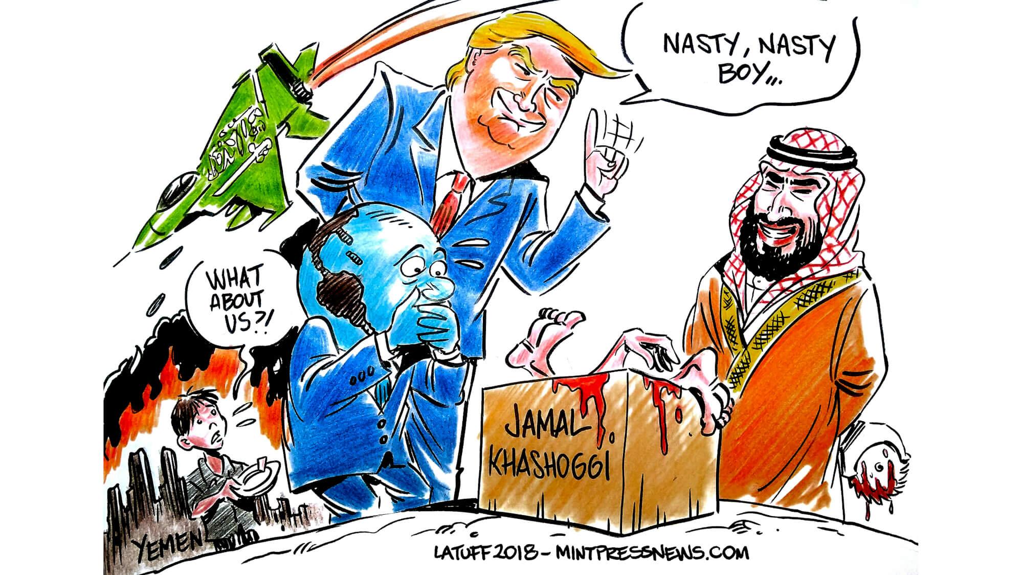 Trump Saudi Arabia Jamal Khashoggi Cartoon