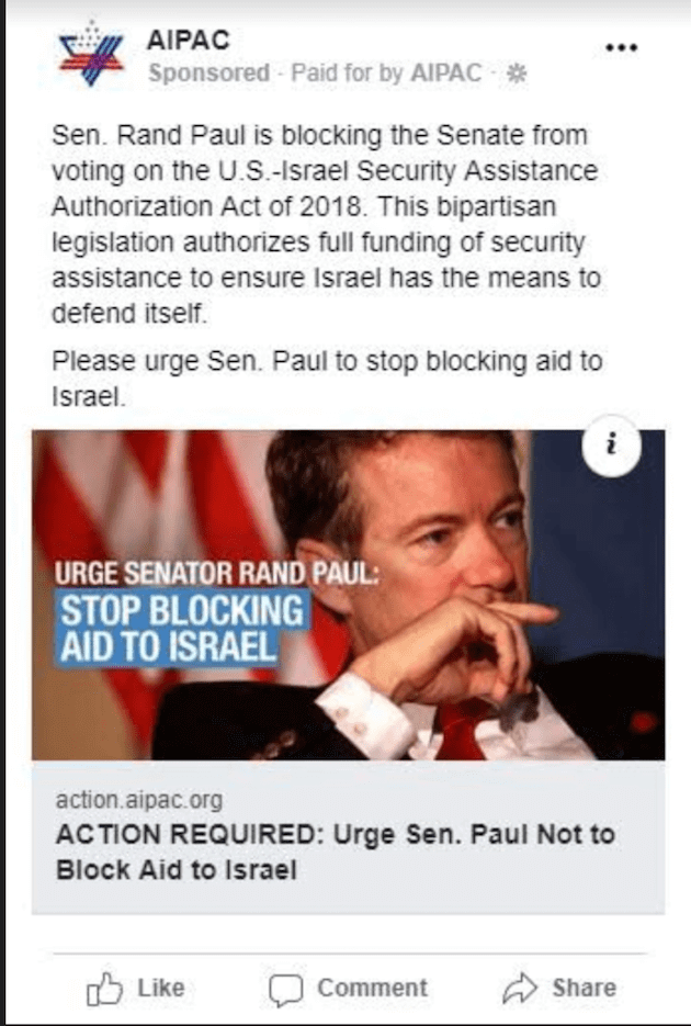 AIPAC Facebook Ad Rand Paul
