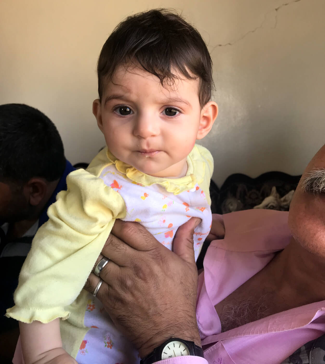 Six-month-old baby Ghala whose father was gunned down by ISIS terrorists 100 yards from Ziad Saab's home. Photo | Vanessa Beeley