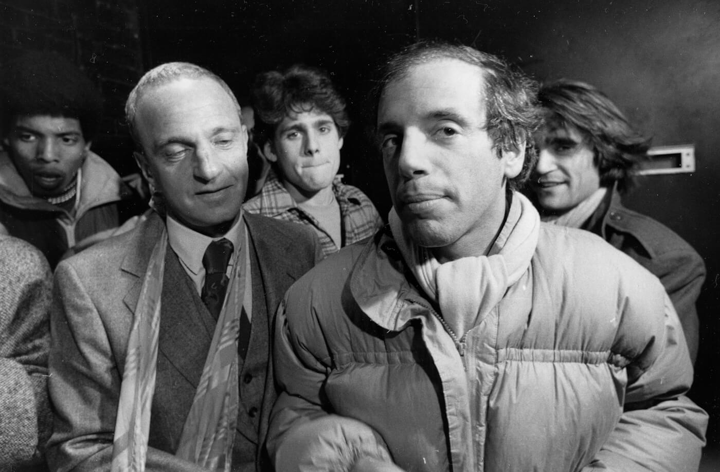 Studio 54 co-owner Steve Rubell and Roy Cohn, left, talk to reporters outside U.S. District Court in Manhattan on, Nov. 2, 1979. Photo | AP