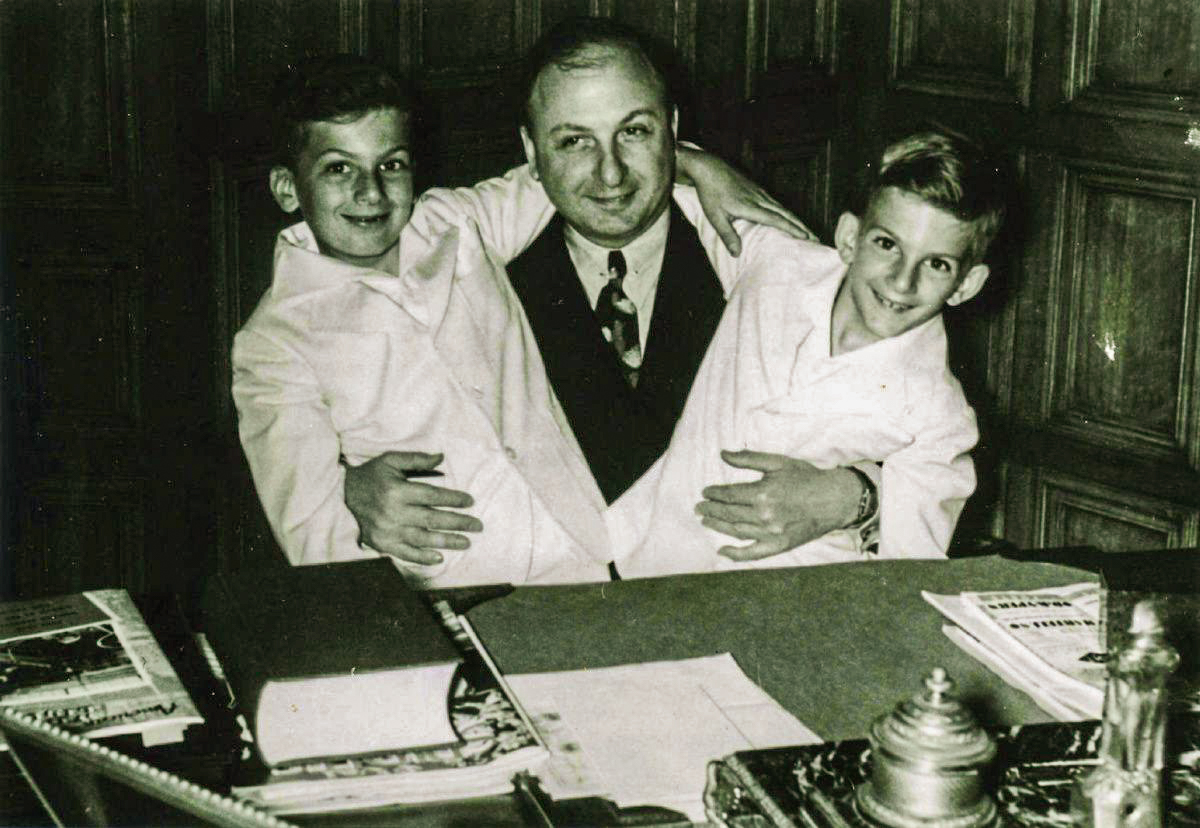 Samuel Bronfman pictured in 1937 with his sons Edgar and Charles