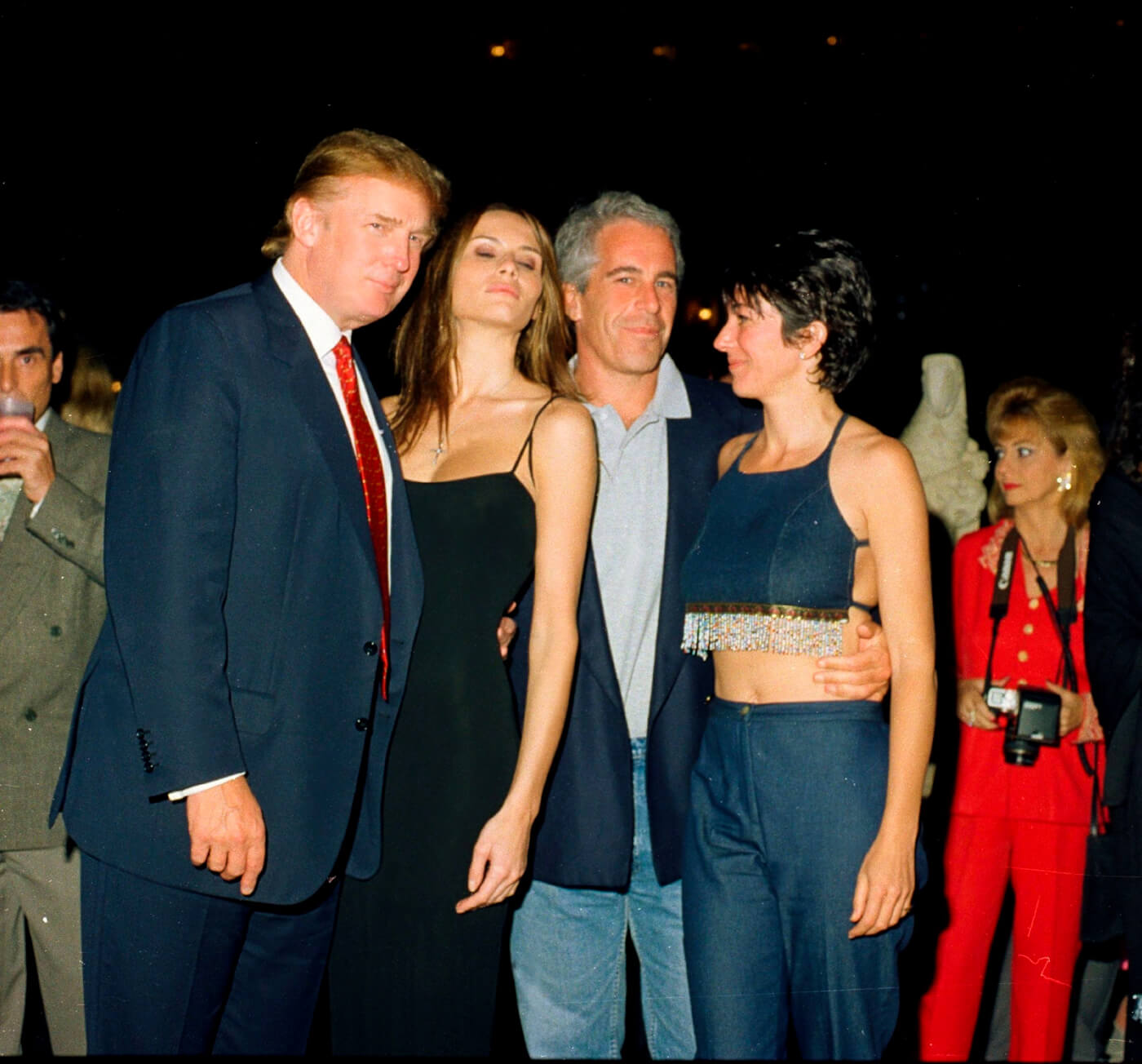 Donald and Melania Trump with Jeffrey Epstein and Ghislaine Maxwell at the Mar-a-Lago club, Palm Beach, Florida in 2000. Photo | Davidoff Studios